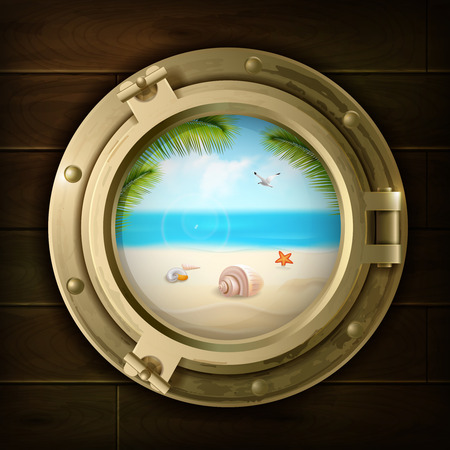Summer background with palm shells and starfish on beach in ship porthole on wood texture vector illustration