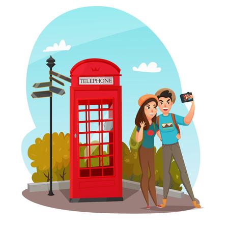 Samenstelling met paar van glimlachende jonge reizigers die selfie met rode telefooncel in zomer vectorillustratie maken