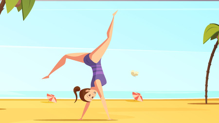 Sportswoman retro cartoon set with doodle style female character doing handstand on tropical beach landscape background vector illustration