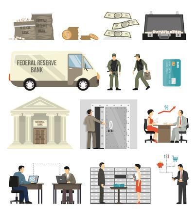 Flat design set of bank building clerks clients banknotes and coins isolated on white background vector illustration Ilustração