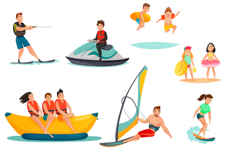 Summer water activities set including persons on banana boat motorcycle kids with rubber rings isolated vector illustration