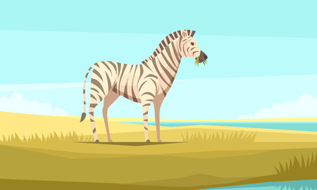 Zebra nature background composition with flat image of wild animal chewing grass and pristine wilderness landscape vector illustration