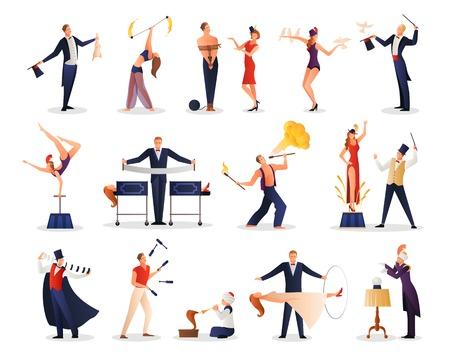Magisch toon de mensenreeks van juggler van de illusionistmedewerker gekleurde beeldjes vlakke geïsoleerde vectorillustratie van de acrobat
