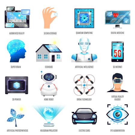 Technologieën van toekomstige geplaatste pictogrammen met inbegrip van vergrote werkelijkheid, kunstmatige fotosynthese en intelligentie, elektrische auto geïsoleerde vectorillustratie Stock Illustratie