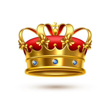 Royal ceremonial gold crown with gemstones and red velvet realistic single closeup isolated image vector illustration Illustration