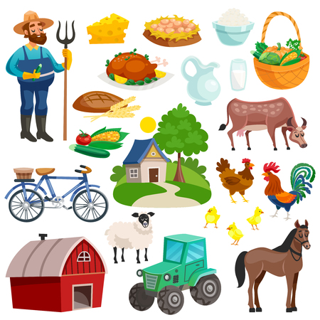 Collection of rural decorative cartoon icons with farmer with pitchfork farm animals  and dishes from natural products isolated vector illustration Illustration