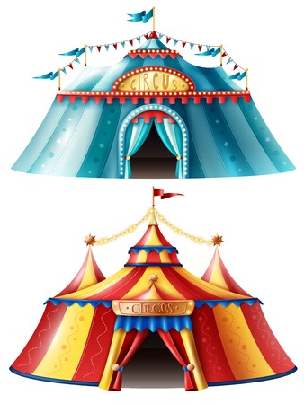 Two realistic circus tent icon set one is light blue and another is multicolored vector illustration