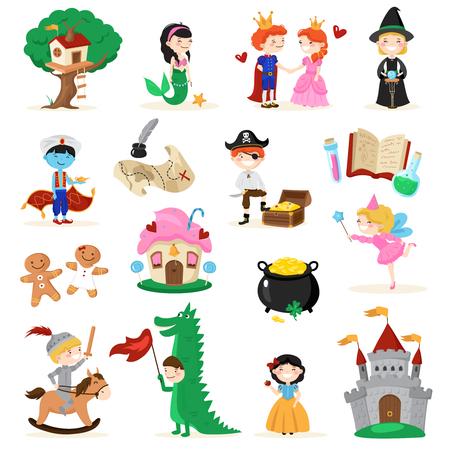 Reeks sprookjesachtige karakters in beeldverhaalstijl met inbegrip van boomhuis, meermin, peperkoekmensen, heks geïsoleerde vectorillustratie Stock Illustratie