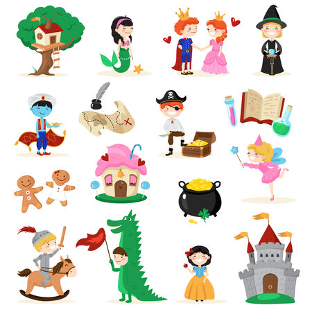 Set of fairytale characters in cartoon style including tree house, mermaid, gingerbread men, witch isolated vector illustration Stok Fotoğraf - 83362650