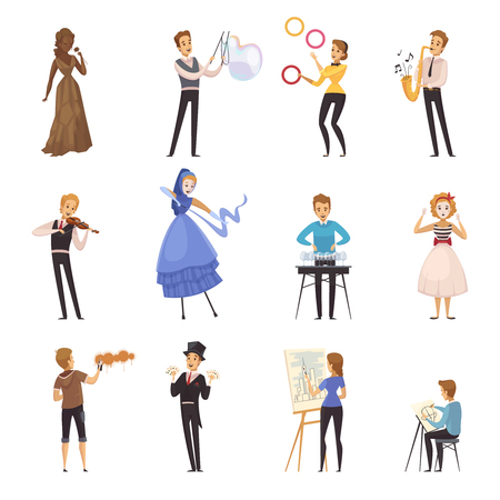 Street artists isolated cartoon icons with mime busker juggler painter musician illusionist colored figurines flat vector illustration Stock Vector - 83362651