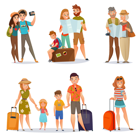 Set of traveling people with baggage and maps including families couples and young woman isolated vector illustration