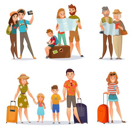 Reeks reizende mensen met bagage en kaarten met inbegrip van familiesparen en jonge vrouw geïsoleerde vectorillustratie