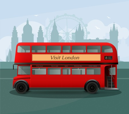 london tower bridge: Realistic london double decker bus with lettering on grey background with silhouettes of landmarks vector illustration