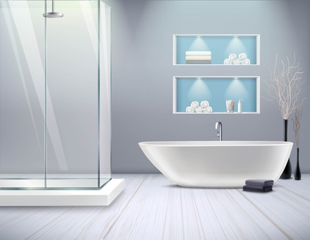 Realistic bathroom interior new stylish renovation in the bathroom with shower and bathtub vector illustration Illustration