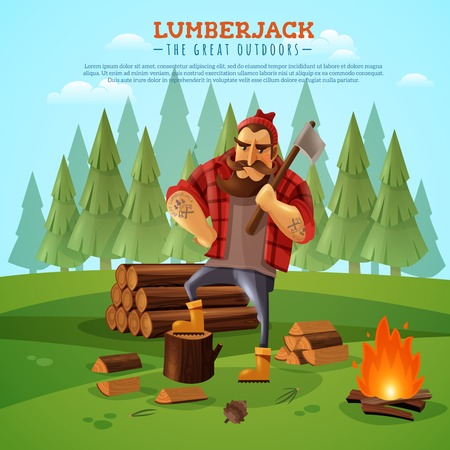 Sturdy lumberjack woodsman holding ax with muscled tattooed hands near campfire forest bacground cartoon poster vector illustration
