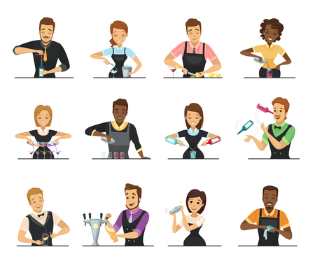Set of cartoon male and female bartender characters mixing beverage on white background flat isolated vector illustration