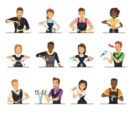 Reeks karakters die van de beeldverhaal mannelijke en vrouwelijke barman drank op witte vlakke vlak geïsoleerde vectorillustratie mengen als achtergrond Stock Illustratie