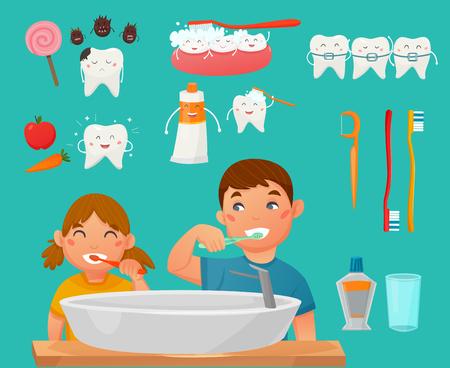 Gekleurde en geïsoleerde tanden borstelen kinderen pictogrammenset met jongen en meisje wassen hun gezichten in de badkamer vectorillustratie Stock Illustratie