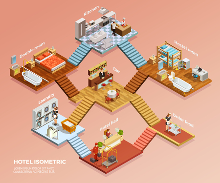 Different hotel rooms design interior with furniture isometric composition vector illustration Illustration