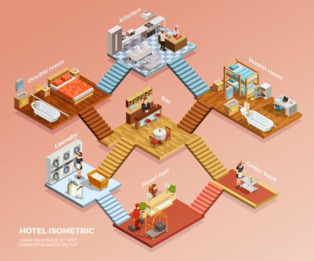 Verschillende hotelkamers ontwerpen interieur met meubilair isometrische samenstelling vectorillustratie
