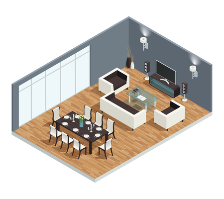 Dining room isometric conept with TV table and chairs vector illustration