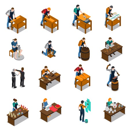 Craftsman set of isometric icons with carpenter blacksmith potter artist painter tailor and shoemaker isolated vector illustration Çizim