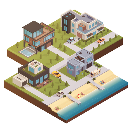 patio set: Isometric house concept with private residence neighborhood country estate buildings yards with trees cars and people vector illustration