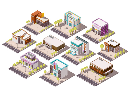 Entertainment places isometric set with theatre and cinema isolated vector illustration