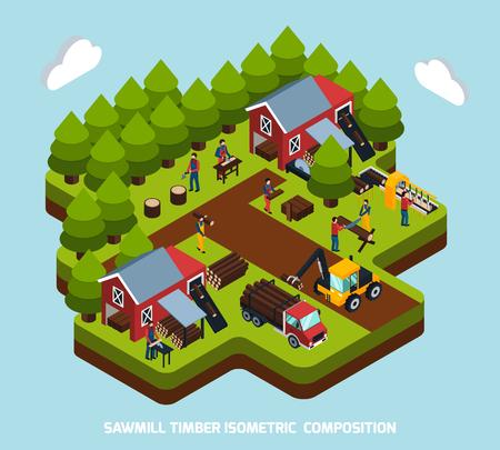 Isometrische Zusammensetzung der Bauholzproduktion mit spezieller Ausrüstungs- und Maschinensymbole vector Illustration Standard-Bild - 83429792