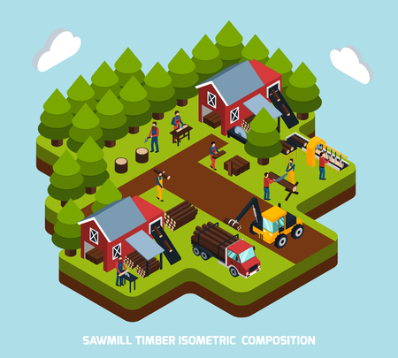 Timber production isometric composition with special equipment and machines symbols vector illustration