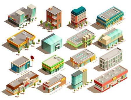 Moderne, urbain, magasin, bâtiments, différent, icônes isométrique, ensemble, isolé, blanc, fond, vecteur ...