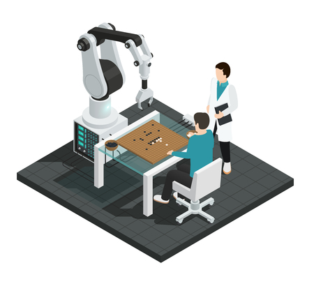 Realistic artificial intelligence isometric colored composition with robot against human vector illustration Illustration