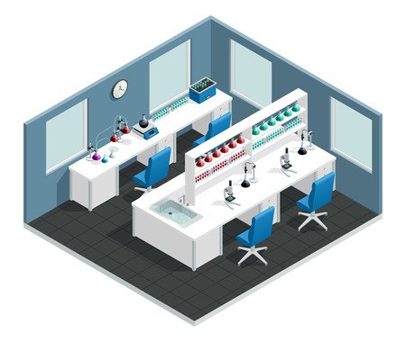 Naukowy laborancki wewnętrzny isometric pojęcie z biurkiem prowadzić eksperyment i kolbę z chemiczną odczynnika wektoru ilustracją