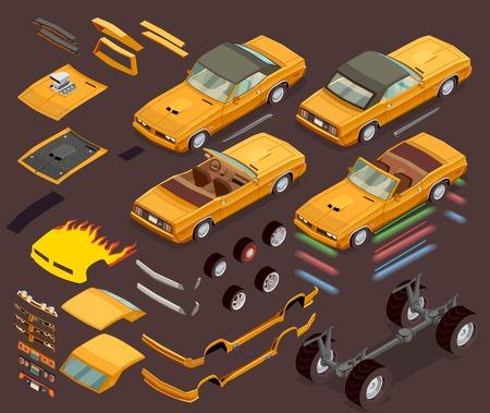 Prestaties automotor afstemming styling onderdelen apparatuur en accessoires isometrische set garage en webshop advertentie vectorillustratie
