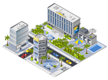 Luxury hotel buildings isometric design concept with south urban landscape and city transport vector illustration