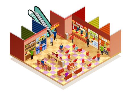 Intérieur de la cour de nourriture avec de nombreux visiteurs isométrique composition sur illustration vectorielle backgrpund blanc