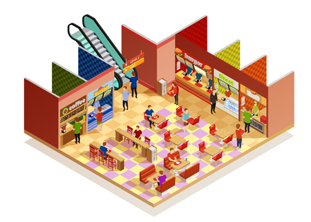Food court interior with many visitors isometric composition on white backgrpund vector illustration