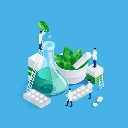 Conceptual background with pharmacy medication images of drug production chemists figures carrying blister cards of pills vector illustration Zdjęcie Seryjne - 83429823