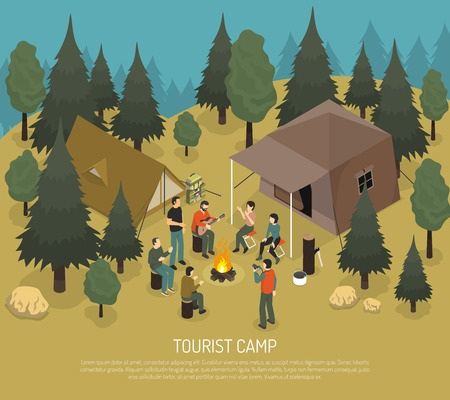 Tourist camp in forest with tents log with axe people near bonfire in summertime isometric vector illustration