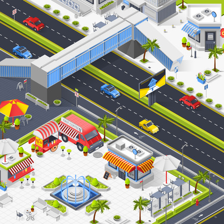 Street cafe in town square isometric composition with fountain outdoor tables fast food tents and trucks vector illustration 向量圖像