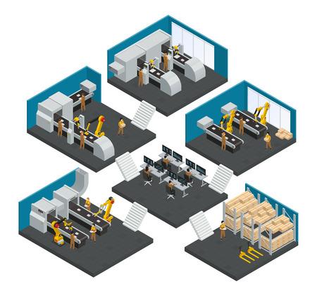 고도의 기술적 인 로봇 장비 벡터 일러스트 레이 션에서 근무하는 직원들과 전자 공장 아이소 메트릭 다중 스토리 구성