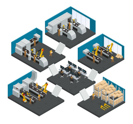 Electronics factory isometric multistory composition with staff working in highly technological robotic equipment vector illustration