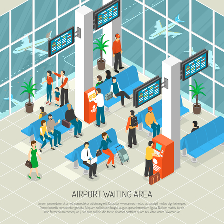 Airport waiting area with travelers and luggage information boards airplanes behind windows interior elements isometric vector illustration Illustration