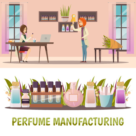 Two horizontal colored perfume shop banner set with perfume manufacturing and finished product vector illustration Ilustração