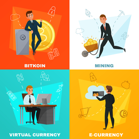 Cryptocurrency virtual money and bitcoin mining 2x2 design concept isolated on colorful backgrounds cartoon vector illustration Иллюстрация