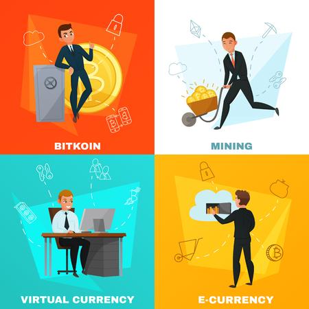 Cryptocurrency virtueel geld en bitcoin mijnbouw 2x2 ontwerpconcept dat op kleurrijke achtergrondbeeldverhaal vectorillustratie wordt geïsoleerd