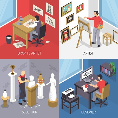 Artists isometric design concept including painting and graphic drawing, sculpture and computer design isolated vector illustration Illustration