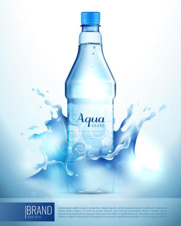 Plastic transparent bottle with mineral water, sticker, blue lid in splashes advertising brand poster vector illustration Illustration