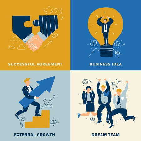 Four squares success business design concept set with successful agreement business idea external growth and dream team descriptions vector illustration Ilustrace