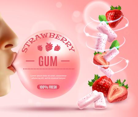 Realistische gomsamenstelling met menselijke handen bubblegum met editable tekst en de wervelwind van bessen en de vectorillustratie van gomstukken